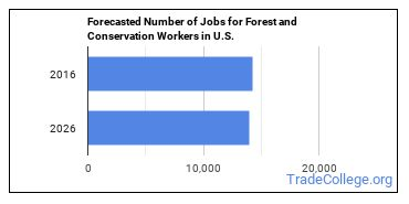 Forecasted Number of Jobs for Forest and Conservation Workers in U.S.