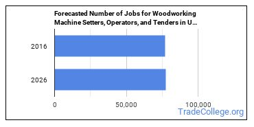 Forecasted Number of Jobs for Woodworking Machine Setters, Operators, and Tenders in U.S.
