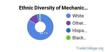 Mechanic & Repair Technologies Majors in NH Ethnic Diversity Statistics