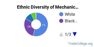 Mechanic & Repair Technologies Majors in VA Ethnic Diversity Statistics